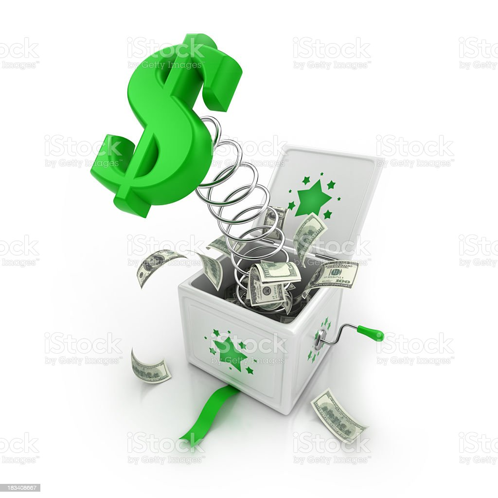 A jack in the box containing money on a white background stock photo