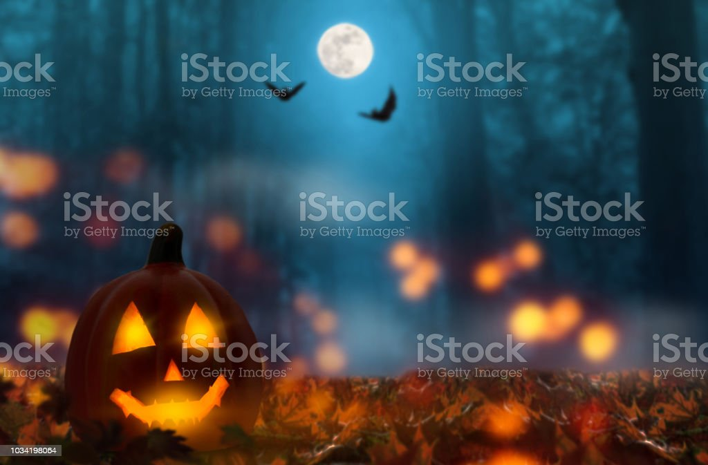 jack lantern in the halloween night stock photo