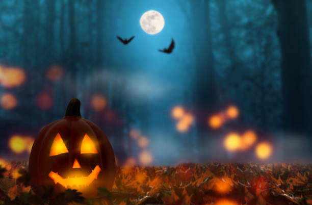 jack lantern in the halloween night - horror stock pictures, royalty-free photos & images