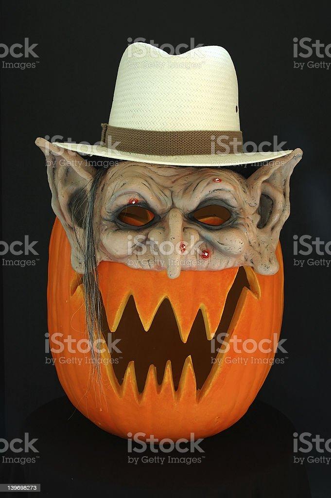 Jack O Lantern Elf with Straw Hat royalty-free stock photo