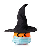 Jack O Lantern Halloween pumpkin with witches hat and mask
