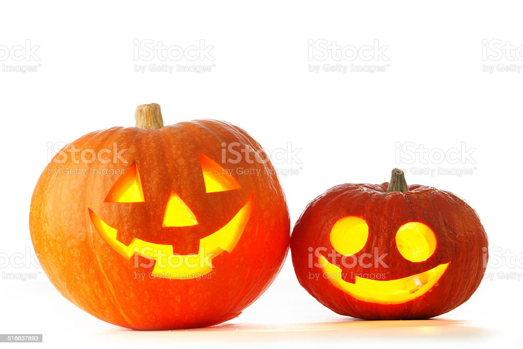 Jack O Lantern halloween pumpkins stock photo