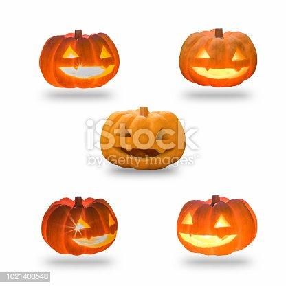 istock Calabaza de Halloween Jack O\'Lantern feliz sonriente cara en ...