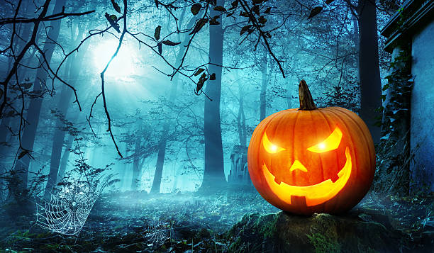 jack o lantern in blue moonlight - halloween fotografías e imágenes de stock