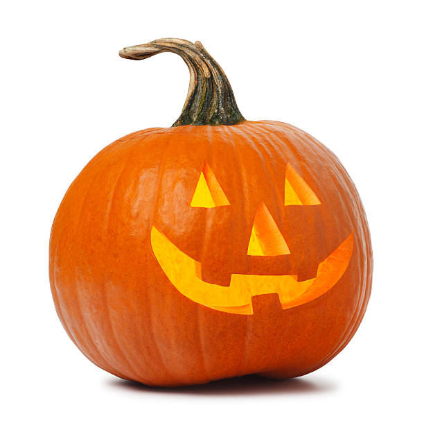 lanterna de halloween em fundo branco - lanterna de halloween - fotografias e filmes do acervo
