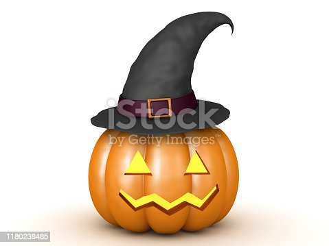 3D jack o lantern pumpkin with witch hat on top of it. 3D Rendering isolated on white.