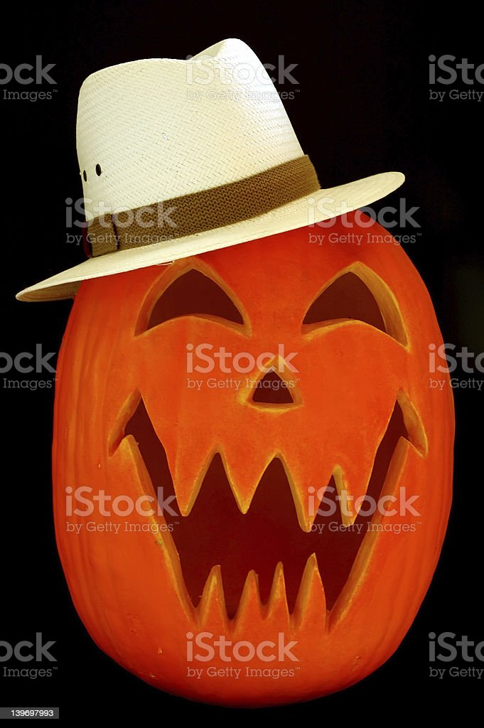 Jack O Lantern Straw Hat royalty-free stock photo