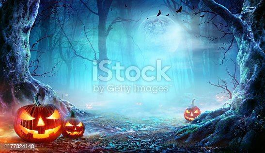 Halloween Pumpkins Smiling In Mist Forest At Moonlight