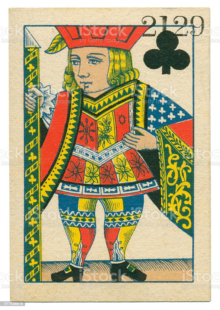 Jack of Clubs playing card standing court Belgium 1860 stock photo