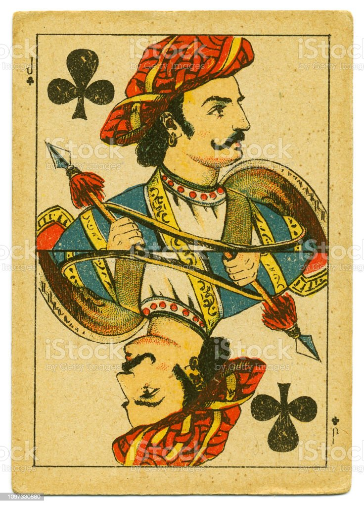 Jack of Clubs rare playing card from Hindu pack 19th century stock photo
