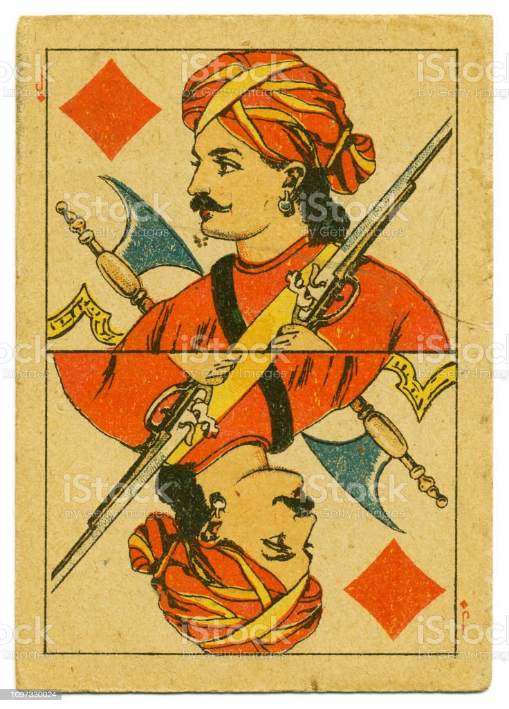 Jack of Diamonds rare playing card from Hindu pack 19th century stock photo