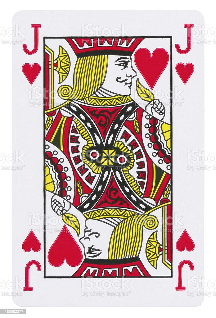 Jack Of Hearts Isolated (clipping path included) royalty-free stock photo