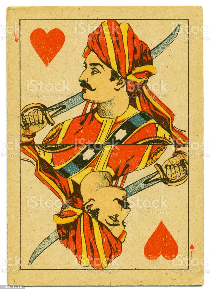 Jack of hearts rare playing card from Hindu pack 19th century stock photo