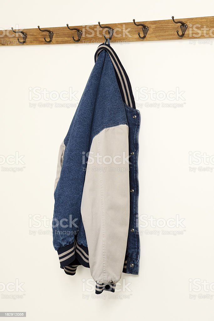 Jacket Hanging on Coat Hook stock photo