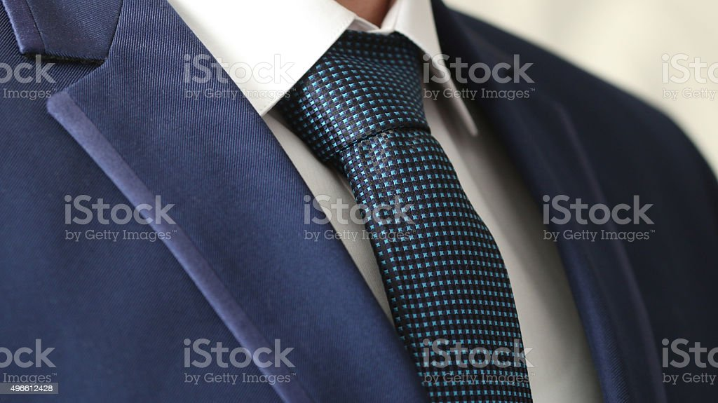 jacket men's shirt with a blue tie stock photo