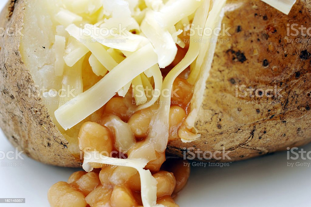 jacket potato, grated cheddar cheese & baked Beans royalty-free stock photo