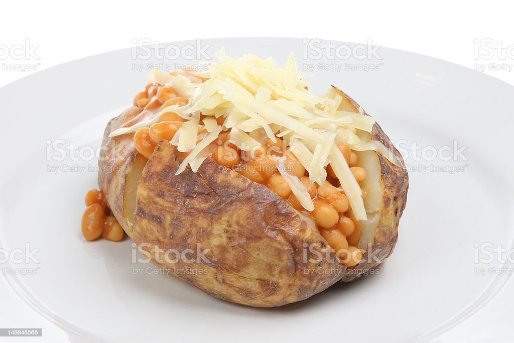 Jacket Potato with Baked Beans and Cheese stock photo