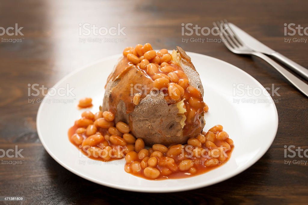 Jacket Potato with Baked beans stock photo