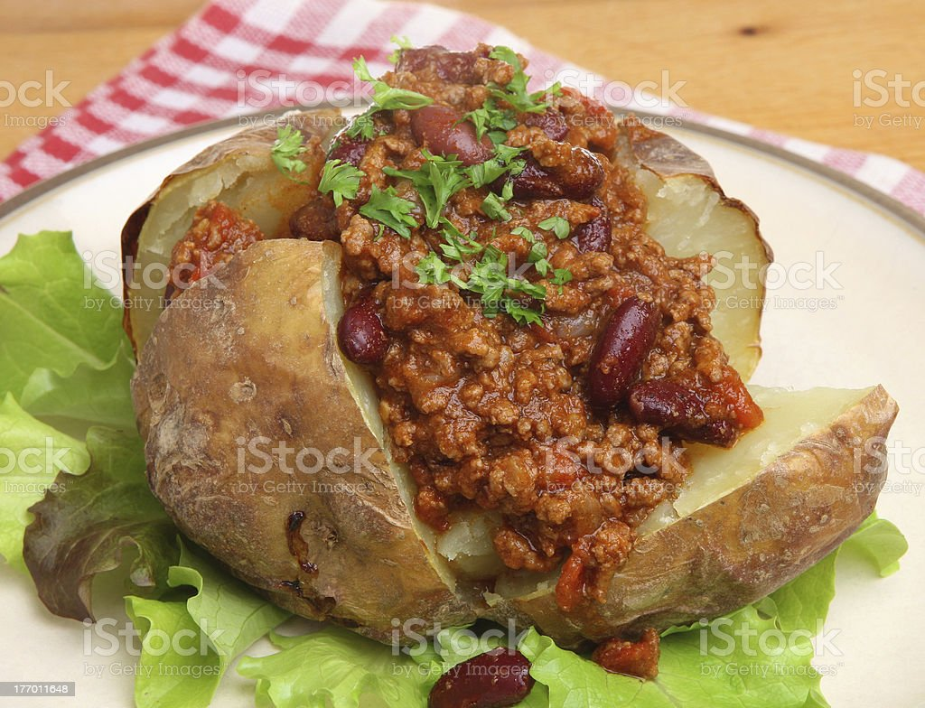 Jacket Potato with Chilli stock photo