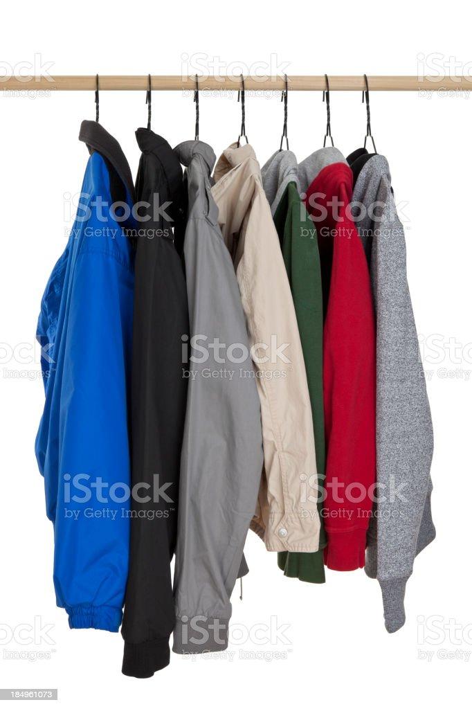 Jackets Hanging on Rack stock photo