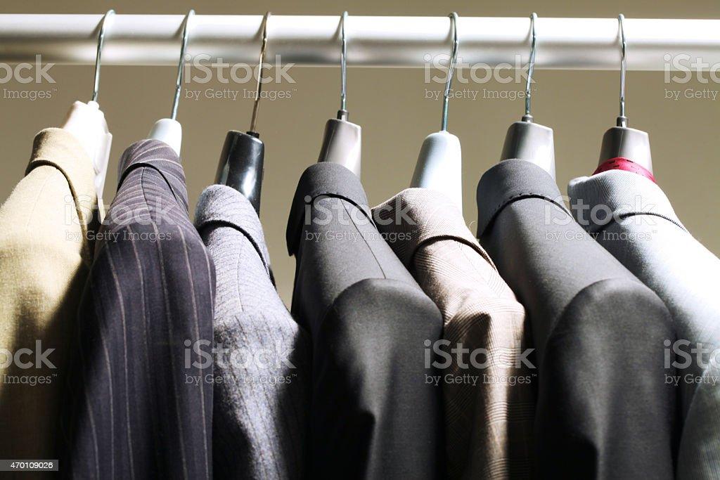 Jackets in wardrobe stock photo