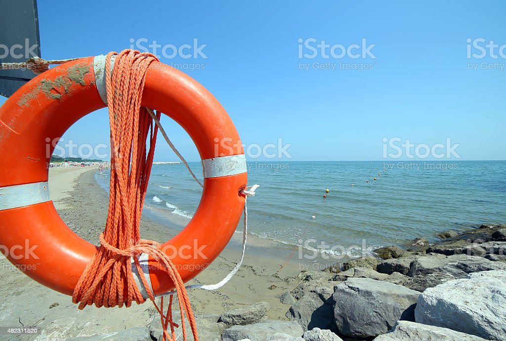 jackets with rope to rescue swimmers in the sea stock photo