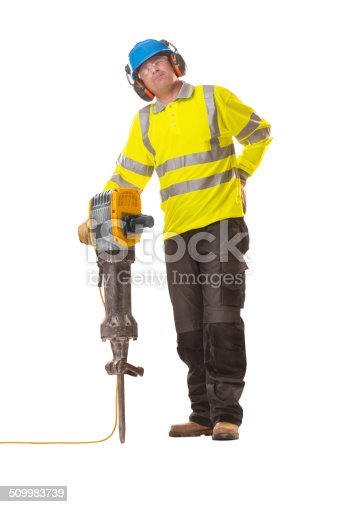 man with jackhammer rubbing his back in pain