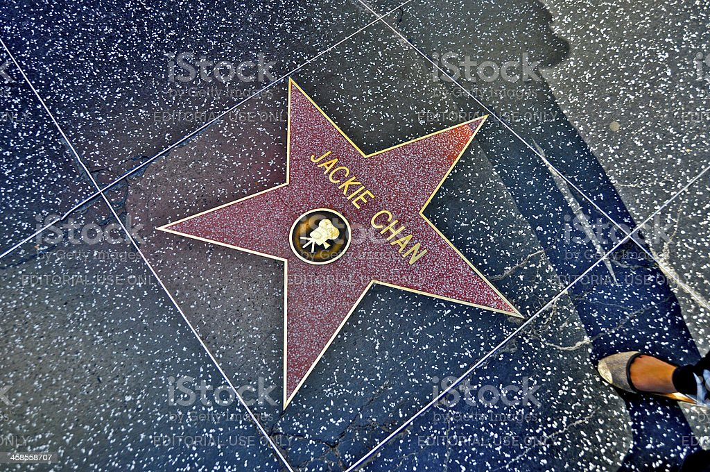 Jackie Chan's Star on Hollywood Blvd. stock photo