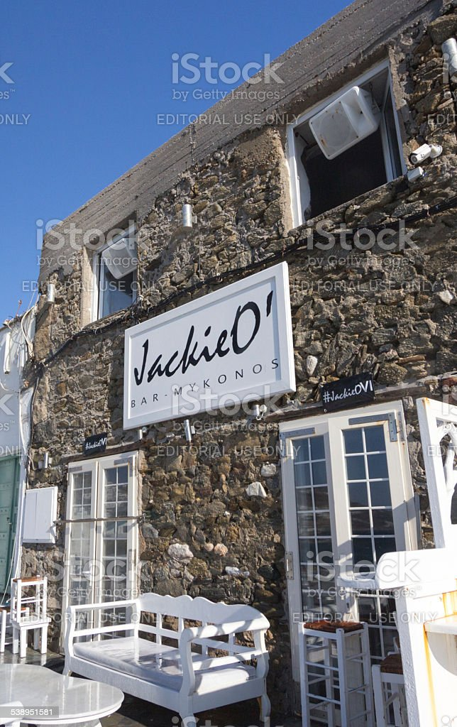 Jackie O' in Mykonos Town, Greece stock photo