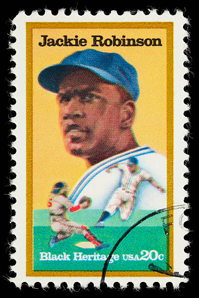 usa jackie robinson postage stamp - jackie robinson stock photos and pictures