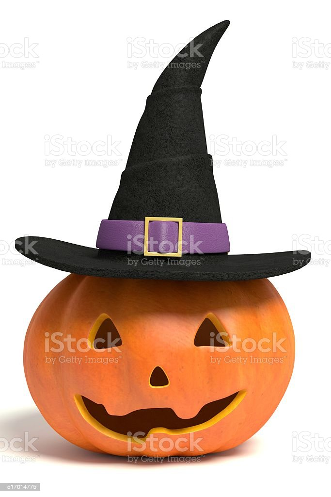Jack-O-Lantern Wearing a Witch Hat stock photo