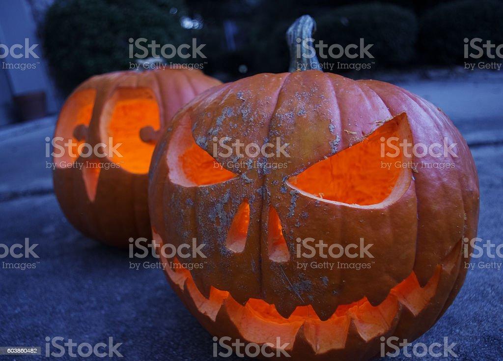 Jack-O'-lanterns stock photo