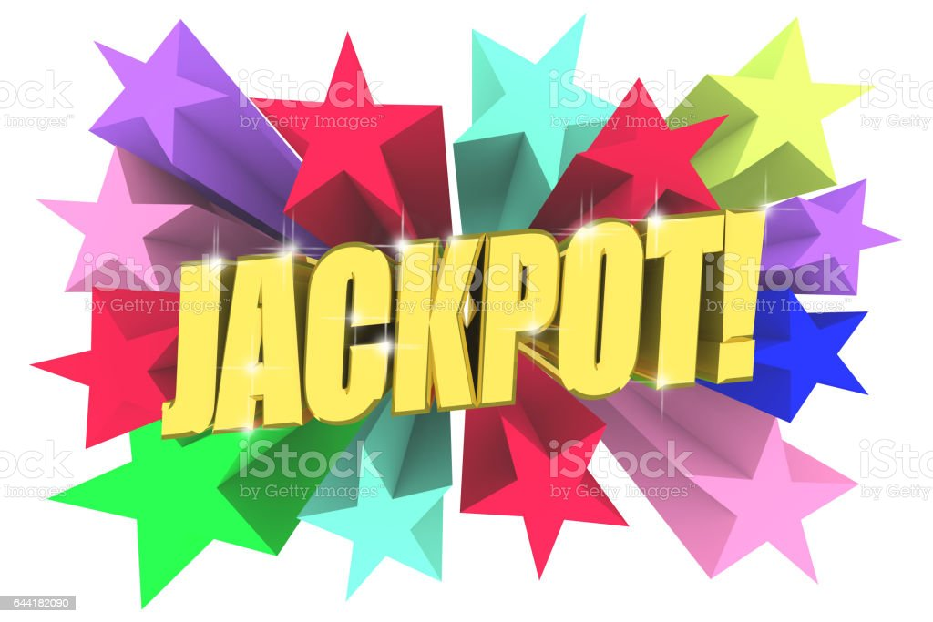 Jackpot golden word among bright multicolored stars. 3d render stock photo