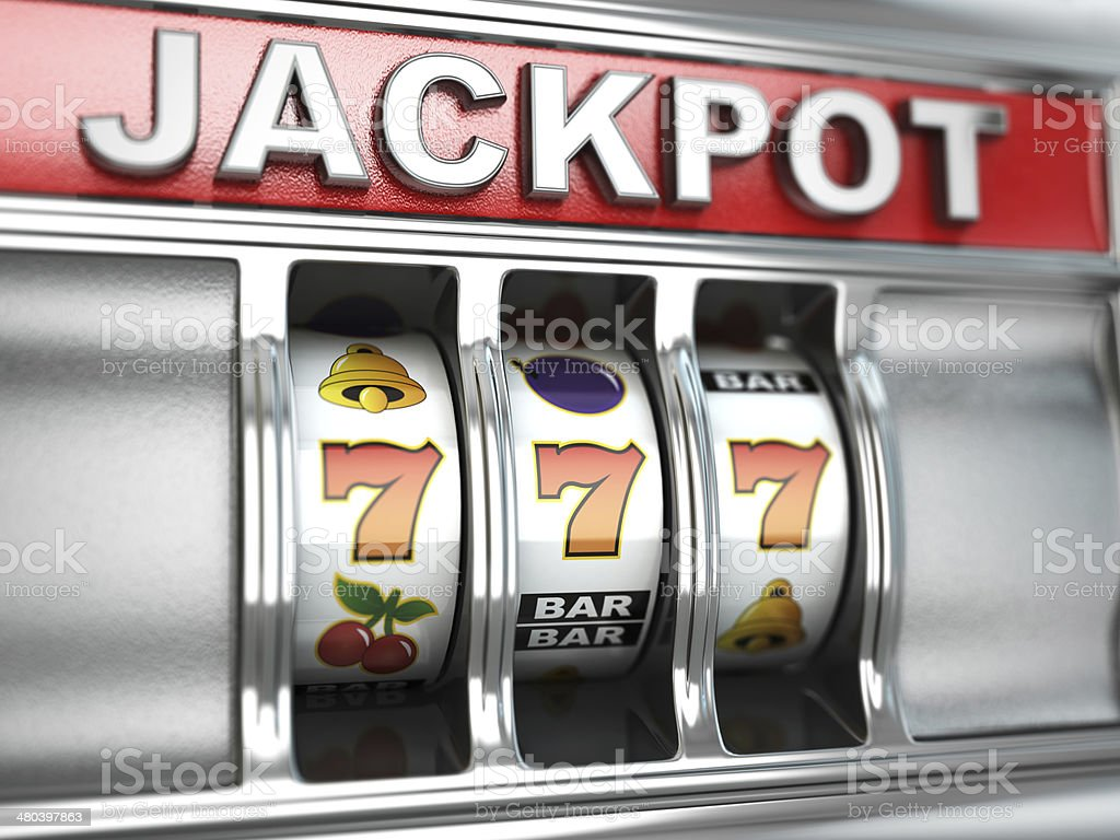 Jackpot on slot machine stock photo