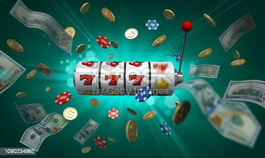 Jackpot poster. Casino slot machine with money and casino chips on green background