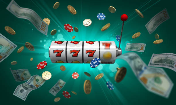 Jackpot! Jackpot poster. Casino slot machine with money and casino chips on green background game of chance stock pictures, royalty-free photos & images