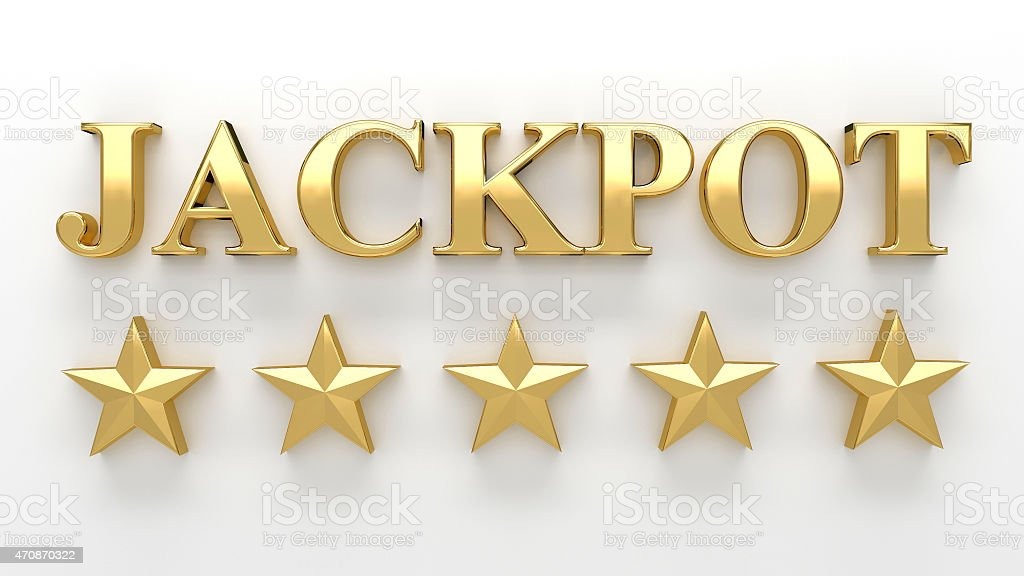 Jackpot with stars on white background. High quality 3D Render stock photo