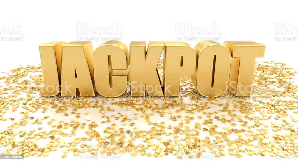 Jackpot with stars on white background - High quality 3D Render stock photo