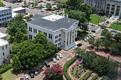 Aerial View of City Hall of Jackson Mississippi in downtown