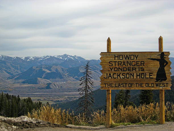 Jackson Hole Sign- Summer stock photo