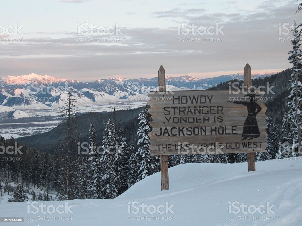 Jackson Hole Sign- Winter Close stock photo