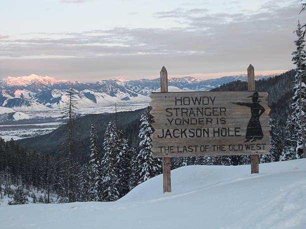 Jackson Hole Sign- Winter Close stock photo