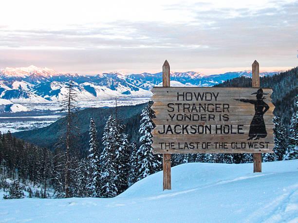 Jackson Hole Sign- Winter stock photo