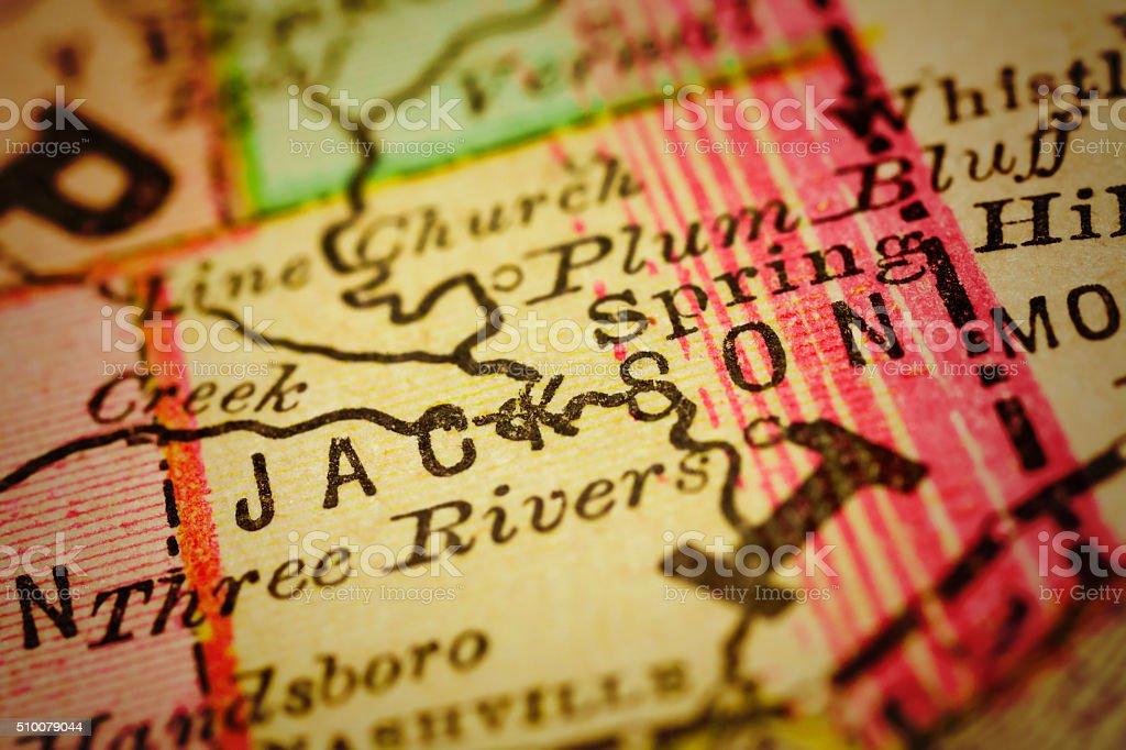 Jackson   Mississippi County maps stock photo
