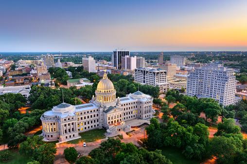 Jackson, Mississippi, USA cityscape at dusk.