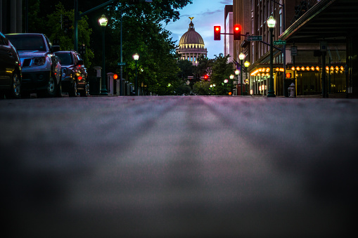 Low camera angle view of the Mississippi Sate Capitol Building located in Jackson MS, shot at dusk.