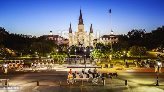 564604962 istock photo Jackson Square in New Orleans, Louisiana French Quarter at Night 601009466