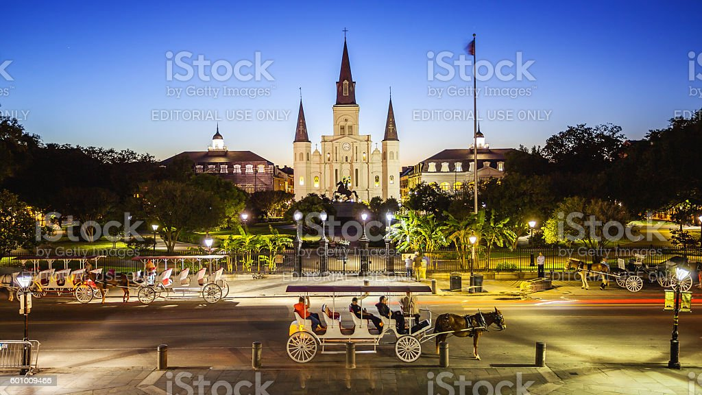 Jackson Square in New Orleans, Louisiana French Quarter at Night stock photo