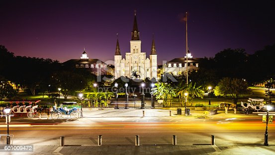 564604962 istock photo Jackson Square in New Orleans, Louisiana French Quarter at Night 601009472