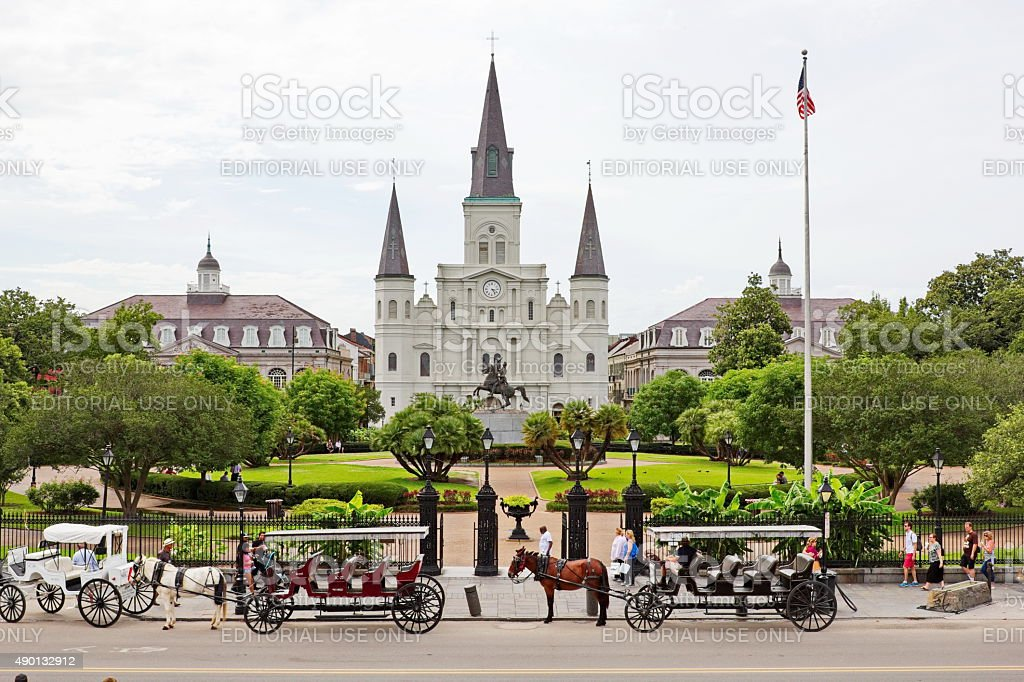 Jackson Square New Orleans in Spring and St Louis Cathedral stock photo